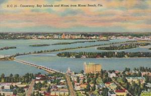 Florida Causeway Showing Bay Islands and Miami From Miami Beach Curteich