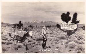 RP: Nevada , 40s-50s; Desert , Man & Donkey, A long ways away from civilization