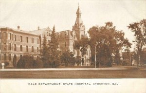 INSANE ASYLUM Male Department State Hospital STOCKTON CA c1910s Vintage Postcard