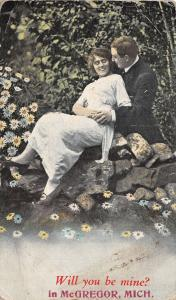 Will You Be Mine? in McGregor Michigan~Romantic Couple~Daisies~1928 Postcard