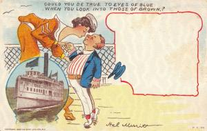 Ship Comic~Excursion Steamer~Man on Tiptoe~Lady Sailor~True to Eyes Of Blue~1908
