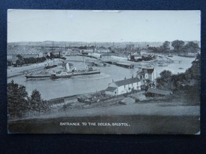 Bristol ENTRANCE TO THE DOCKS shows Manoeuvring Paddle Steamer c1917 RP Postcard