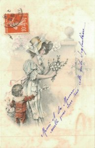 Mother Child and Flowers Litho 04.77