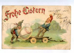 215831 EASTER Dwarf GNOME Egg on Cart Vintage EMBOSSED PC