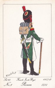 French Irish 1811 Pioneer Military Soldier Napoleonic War Uniform PB Postcard