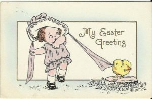 Vintage Postcard decorated with a Little Girl in a Merry Widow hat for Easter