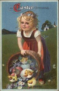 Easter - Little Girl Basket of Chicks & Flowers c1910 Postcard