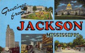 Linen Era, Large Letter, Jackson, MS, Mississippi,  Old Postcard