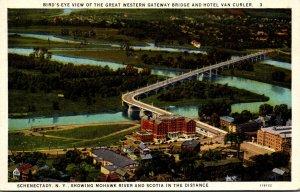 New York Schenectady Birds Eye View Of Great Western Gateway Bridge and Hotel...
