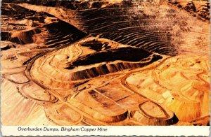 Postcard UT Utah Bingham Copper Mine Overburden Dumps Aerial View Unposted