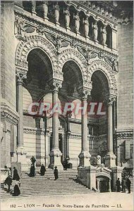 Old Postcard Lyon Facade of Our Lady of Fourviere