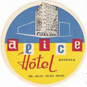 GREECE ATHENS ALICE HOTEL VINTAGE LUGGAGE LABEL