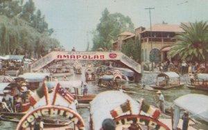 Xochimilco Mexico Boat Race 1960s Mexican Postcard