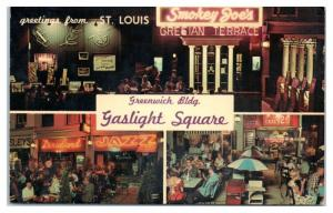Greetings from St. Louis, MO Gaslight Square Smokey's Joe's Tiger's Den Postcard