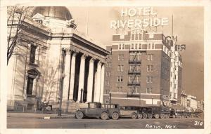 Reno Nevada~Hotel Riverside~Drugs Store~Furniture~Stationers~1920s Cars~RPPC