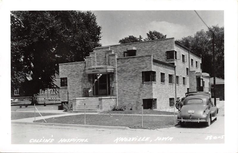 Knoxville Iowa~Art Deco Collins Hospital~1930-40s Cars~Real Photo Postcard~RPPC