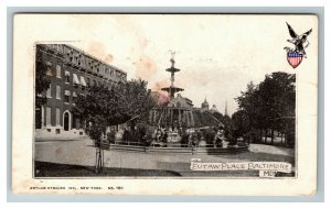 Vintage View of Eutaw Place Fountain, Baltimore MD c1905 Postcard L19