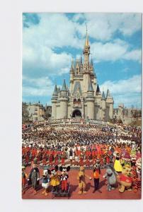 VINTAGE POSTCARD WALT DISNEY WORLD WELCOME CINDERELLA CASTLE MICKEY MOUSE HUGE P