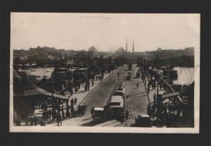 078967 TURKEY CONSTANTINOPLE bridge & tram view Vintage photo