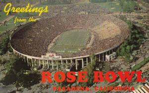 PASADENA, California, 1940-60s; Rose Bowl, Greetings, Scene of the Annual Foo...