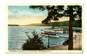 NY - Lake George. D & H Sta., Steamboat Landing. RPO- Pocono & L George RR