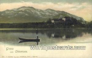 Chiemsee Germany, Deutschland Postcard Herren Insel mit Kampenwand Chiemsee H...