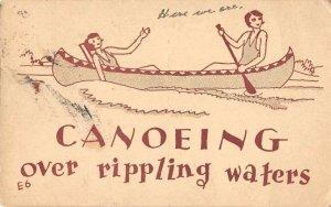 Camp Greetings Ladies Canoeing Vintage Postcard JF686284
