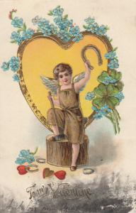 VALENTINE'S DAY, PU-1908; Cupid with anvil and gold horseshoes