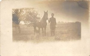 Horse Post Card Ray Barker and Horse Chocolate Black and White Photo Writing ...