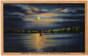 1954 Greetings from Newfoundland Pocono Mountains PA Poconos RARE Linen Postcard