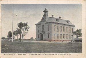 LPS39 North Hampton New Hampshire Centennial Hall and School House Postcard