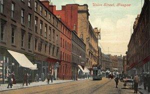 Glasgow Scotland Union Street Storefronts Trolley's Postcard