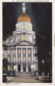 Colorado Denver State Capitol Dome Illuminated At Night 1930