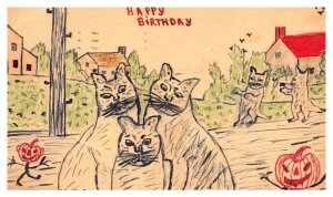 CATS , Jack O'lanterns, Hand drawn artist V.+ E,J,