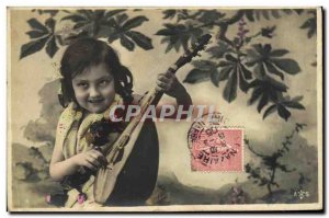 Old Postcard Fun Children Mandolin