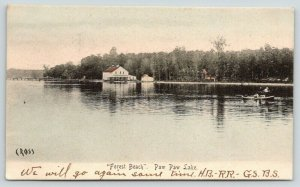 Paw Paw Michigan~Paw Paw Lake~Forest Beach Pavilion & Boat House~1906 Postcard