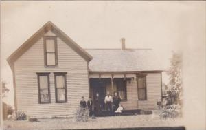 Family In Front Of Home Anderson Indiana Real Photo