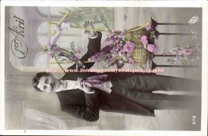 Old Postcard Fantasy Man April 1 Easter Fish