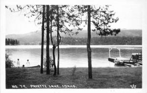 Boat Dock 1940s Payette Lake Idaho Waterfront Postcard RPPC 12696