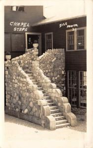 Chapel Steps~Man @ Doorway~Note on Back~'30s Dills RPPC mailed @ Milford Indiana