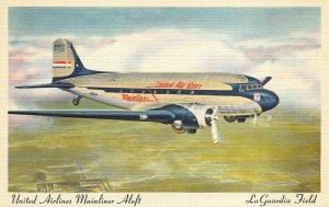 LaGuardia Field NY United Airlines Mainliner Aloft Postcard