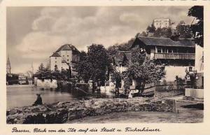 RP, Blick Von Der iile Aud Die Stadt u. Fischerhauser, Passau (Bavaria), Germ...