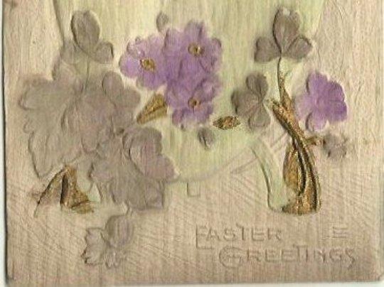 Heavily Embossed Novelty Airbrushed Card Chicks Easter Egg Lilacs 1913 Ephemera