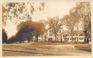 Standish ME Dirt Main street Buildings in 1915 Message RPPC Postcard
