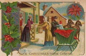 CHRISTMAS, 1900-10s; Home Coming, Horse-drawn sleigh, Poinsettia, Holly