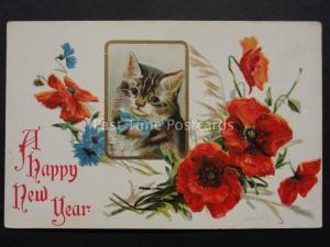 Embossed Poppies Postcard: HAPPY NEW YEAR shows Kitten in Bow Donate to R.B.L.