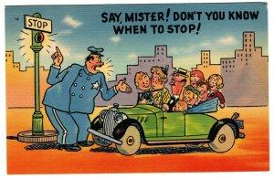 Vintage Postcard Comic Family Travel and Police Unused