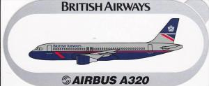 BRITISH AIRWAYS AIRBUS A320 VINTAGE AVIATION LABEL
