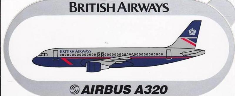 BRITISH AIRWAYS AIRBUS A320 VINTAGE AVIATION LABEL