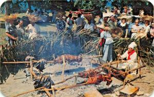 LECHONADA~CHARCOAL PIG-ROAST~PUERTO RICO BEACH PARTY 1955 PMK POSTCARD